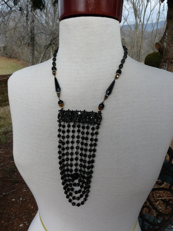 SALE:  Victorian Mourning Jet Bead Bib Necklace, 1800's Noir Perfection, by RusticGypsyCreations