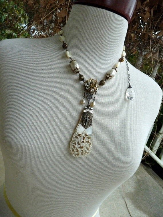 RESERVED Listing For Deb:  Ex Voto Vintage Assemblage Necklace,  Under the Mantle of Mary, by RusticGypsyCreations