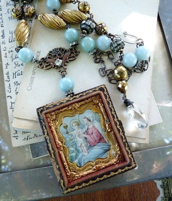 RESERVED Listing:  Antique Religious Assemblage Necklace, Our Lady Victorious, by RusticGypsyCreations