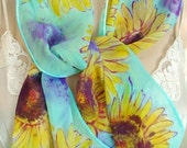 SUNFLOWERS hand painted silk chiffon scarf UNIQUE