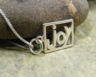 sterling silver joy word cut out pendant necklace high polish finish