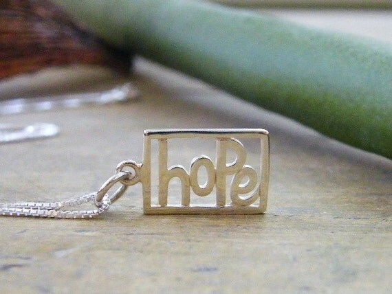 hope necklace sterling silver word cut out pendant shiny finish