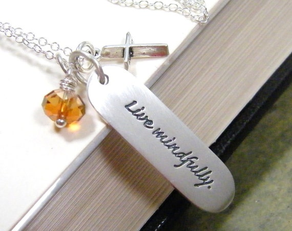 spiritual quote necklace live mindfully printed sterling silver pendant  with swarovski crystal and cross