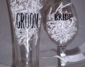 Bride and Groom Pilsner beer mug and wine glass