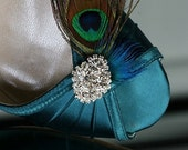 Wedding Shoes - Wedge - Peacock Shoes - Teal Blue - Peacock Wedding - Dyeable Choose From Over 200 Colors - Wedding Wedge Shoe With Feathers