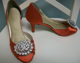 Orange Wedding Shoes - Bling Shoes - Crystal Shoes - Orange Wedding - Orange Peep Toes - Dyeable Shoe - Choose From Over 100 Colors Parisxox