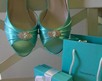 Wedding Shoes - Aqua Blue Shoes - Bridal Shoe - Aqua Blue Wedding - Custom Wedding Shoe - Wedding Heels - Blue Wedding Shoe -Shoes For Bride