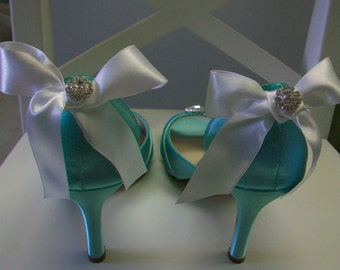 Wedding Shoes - Aqua Blue Wedding  Choose From Over 100 Colors  Peep Toe Wedding Shoe - Choose Your Heel Height - Bows On Heel - Parisxox