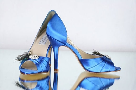 Peacock Wedding Shoes Sapphire Blue Wedding Shoes - Choose From Over 100 Colors - Different Heel Heights To Choose From - Peacock Wedding