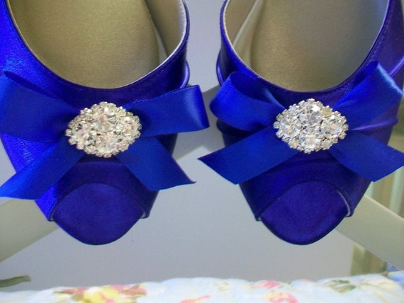 Wedding Shoes - Blue Shoes - Ribbon Bow Shoes - Sapphire Blue - Dyeable Shoes - Choose From Over 100 Colors - Choose Heel Height By Parisxox