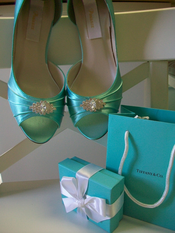 Wedding Shoes - Aqua Blue - Crystals - Aqua Blue Wedding - Bridal Shoes - Heels - Dyeable Choose From Over 200 Colors - Wide Sizes Available