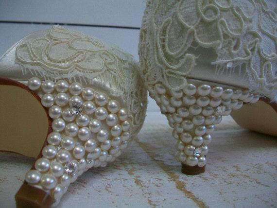 Ivory Свадебная обувь - босоножки Свадебная обувь - Старинные босоножки Жемчуг - каблуки Невеста-Кот Swarovski Crystal Свадебные - выбрать из более чем 100 цветов
