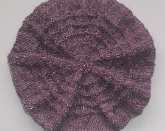 Purple Beret Hat Knitted Toddler Girl Hats, Hand Knit Lightweight Wool Berets Children Fashion Knitwear Accessories Hand Made Gifts