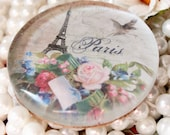 Eiffel Tower Cottage Chic Glass Paperweight
