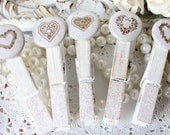 Cottage Chic Heart ClothesPins Shabby Chic Perfect for Weddings