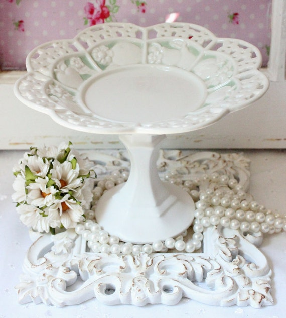 Cupcake Cake plate pedestal with vintage cut out plate