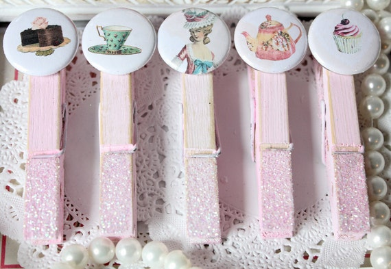 Marie Antoinette Tea Party ClothesPins Shabby Chic