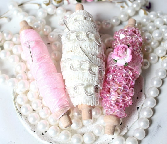 Cottage Chic Trim Set Pink Organza Ribbon, Brocade, Pink Beaded Ribbon