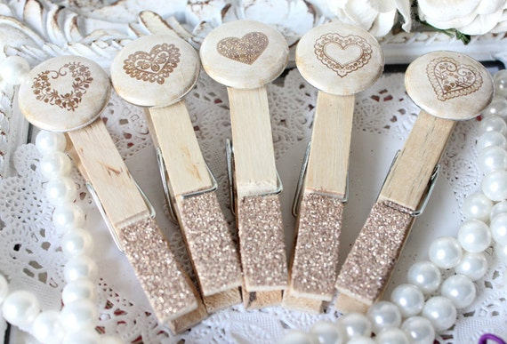 Cottage Chic Heart ClothesPins a touch of Gold Glitz