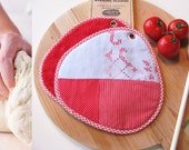 tomato red and light bue repurposed patchwork embroidered pair of potholders