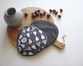modern lines pair of large potholders in grey and white - hearts - scandinavian style - hostess gift - foodie gift