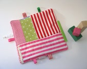 pink and geen patchwork taggie - baby girl - burp cloth - babyshower gift - SALE - nursery girl - bright taggie - bright burp cloth