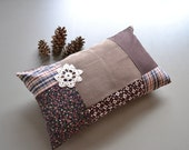boho brown patchwork lumbar pillow - floral patchwork cushion cover rustic style home - 12x20 - lumbar cushion cover - chocolate brown cover
