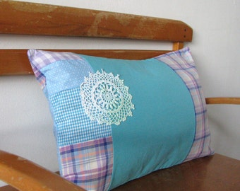 teal and lilac patchwork lumbar pillow - cushion cover - shabby home decor pillow cover - 12x20 - lumbar pillow - girl nursery - girls room