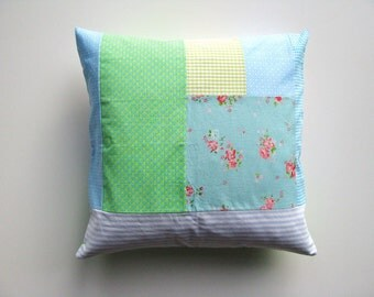 roses shabby patchwork cushion cover - aqua, blue and green pillow cover - 40x40 cm 16x16 inch - girls room pillow cover - cottage decor