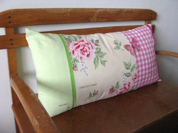 english roses patchwork lumbar pillow made by redstitch on Etsy