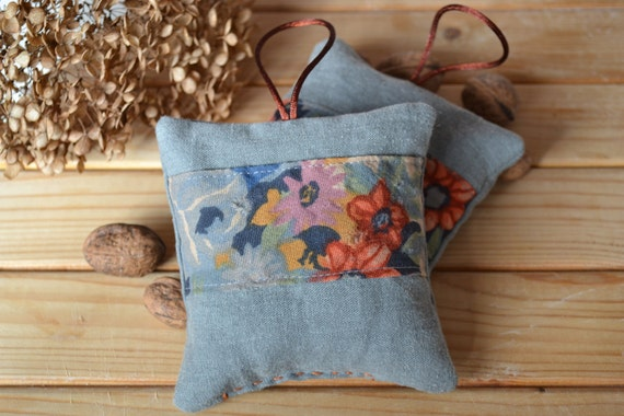 primitive floral lavender sachets - vintage floral liberty fabric - mother's day gift - grey green linen