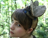 Daphne// Extraordinary Dazzling Unique One of a Kind Butterfly Shaped Fascinator Half-Hat Headband Halloween
