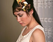 Reserved for Jessica: Harika// Romantic and Mod Fascinator, Vintage Embroidered Fabric, Satin Ribbon, Vintage Jewel