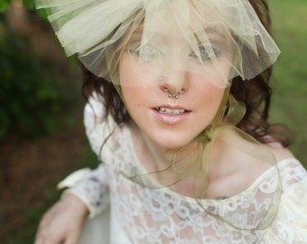 Vivian// Audacious Mini Bonnet with Vintage Fabric and Antique Faux Cameo Bridal Veil