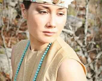 Saroj// Boho Handmade OOAK Headband, Vintage Fabric, Vintage Jewel, Feathers, Gatsby, Flapper