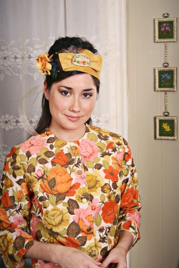 Reserved for Jessica: Hasini// Boho Handmade OOAK Headband, Vintage Fabric, Vintage Jewel, Feathers