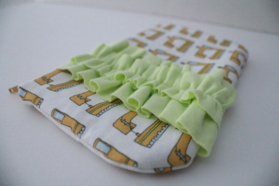 50% OFF SALE ruffled clutch -- the seamstress in lime