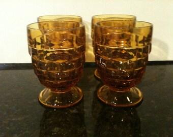 Vintage Amber Juice Glasses, Set of 4