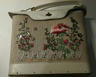 Vintage 1967 Deluxe Jeweltone Applique Handbag/Purse Was 43.99