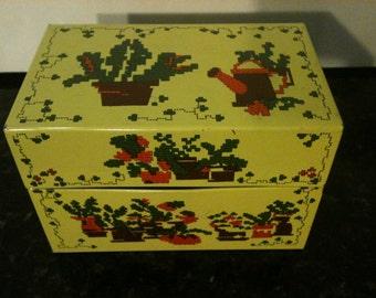 Vintage Yellow Metal Recipe Box