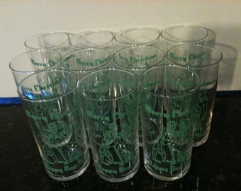 Set of 11 Vintage Christmas and New Years Glasses