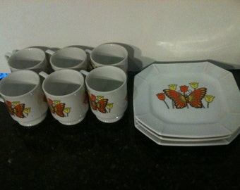 Set of 6 Vintage Cups and 3 Plates