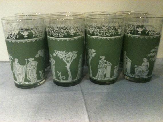 Sale Jeannette Jasperware Green Hellenic Roman drinking glasses set of 8 Was 30.00
