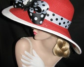 SPECTATOR CLASSIC - Kentucky Derby Red Wide Brim Hat With Black & White Polka Dots