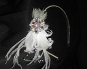 LACY - Elegant Ivory Headband Fascinator With Pearls, Feathers and Brooch