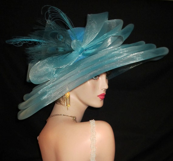LADY AZURE - Light & Airy Derby Sun Hat In Translucent Layers of Azure With Mega Bow and Peacock Feathers