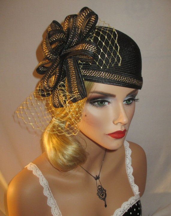 The MOD FLAPPER - 30's Era Style Cloche Cocktail Hat in Black Straw With Gold French Netting