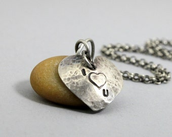 Sterling Silver Heart and Beach Stone Necklace