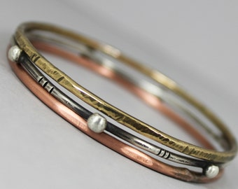 Sterling Silver, Copper and Brass Bangles - Set of 3