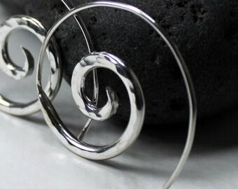 Fine Silver Spiral Earrings - Fine Silver Spiral Hoops - Spiral Hoops - Unfurl
